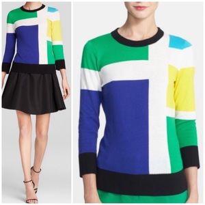 Kate Spade geometric colorblock sweater
